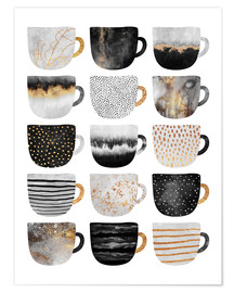Poster  Pretty Coffee Cups 3   White - Elisabeth Fredriksson