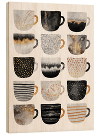 Holzbild  Pretty Coffee Cups 3   White - Elisabeth Fredriksson