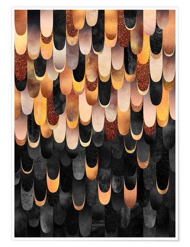 Premium-Poster Feathered Copper And Black