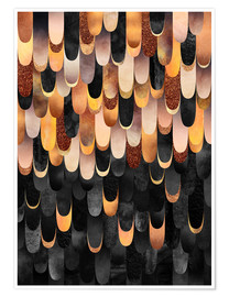 Poster  Feathered   Copper And Black - Elisabeth Fredriksson