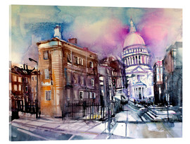 Acrylglasbild  London, Queen Victoria Street, St. Paul's - Johann Pickl