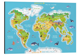 Obraz na aluminium  World map with animals - Kidz Collection
