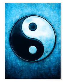 Premium-Poster Yin Yang Scratchy Blue