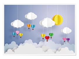 Premium-Poster  Ballonfahrt in den Wolken - Kidz Collection