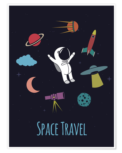 Premium-Poster Space Travel Kid