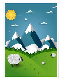 Poster  Papierlandschaft mit Schaf - Kidz Collection