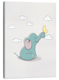 Leinwandbild  Kleiner Elefant mit Schmetterling - Kidz Collection