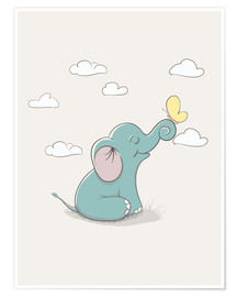Premium-Poster  Kleiner Elefant mit Schmetterling - Kidz Collection