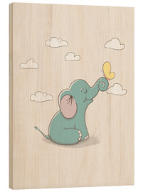 Holzbild  Kleiner Elefant mit Schmetterling - Kidz Collection