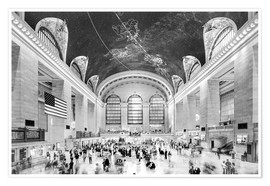 Premium-Poster Grand Central Terminal, New York (monochrom)