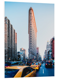 Hartschaumbild  New York, Flat Iron Building & Gelbe Taxis - Sascha Kilmer