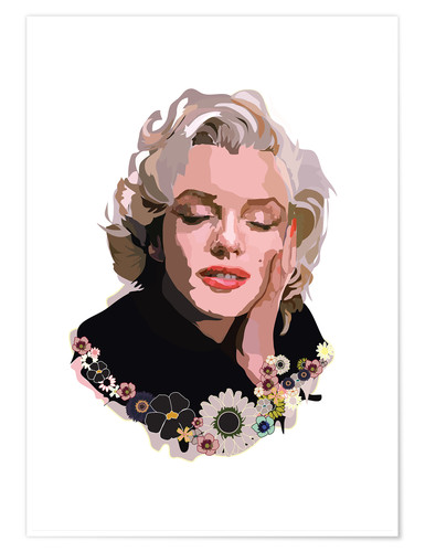 Premium-Poster Marilyn Monroe With Flowers