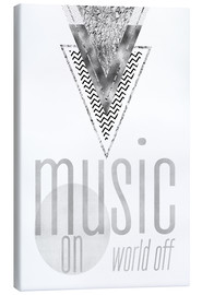 Leinwandbild  GRAPHIC ART SILBER Music on World Off - Melanie Viola