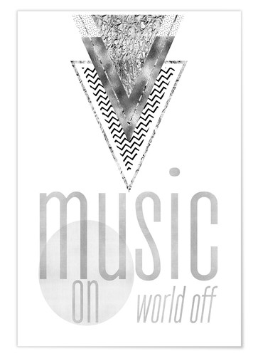 Poster GRAPHIC ART SILBER Music on World Off
