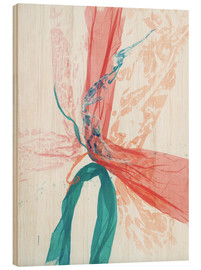 Holzbild  Peach and Teal abstract - Jan Sullivan Fowler