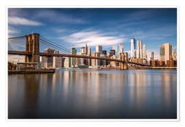 Premium-Poster New York City - Brooklyn Bridge and Skyline