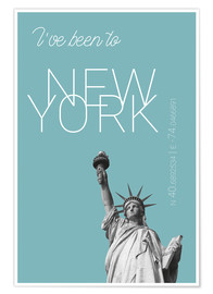 Premium-Poster Pop Art New York Freiheitsstatue - I've been to - Hellblau
