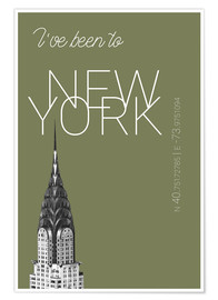 Premium-Poster Pop Art New York Chrysler Building - I've been to - Calliste-Grün