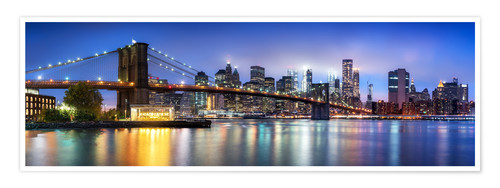 Premium-Poster Brooklyn Bridge Panorama in New York City, USA