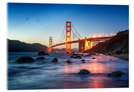 Acrylglasbild  Golden Gate Bridge bei Sonnenuntergang in San Francisco, USA - Jan Christopher Becke