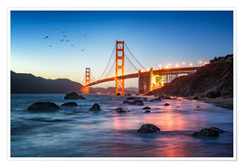 Premium-Poster Golden Gate Bridge bei Sonnenuntergang in San Francisco, USA