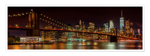 Premium-Poster MANHATTAN SKYLINE & BROOKLYN BRIDGE Idyllische Nachtansicht