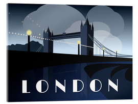 Acrylglasbild  London Tower Bridge Art Deco Stil - Alex Saberi