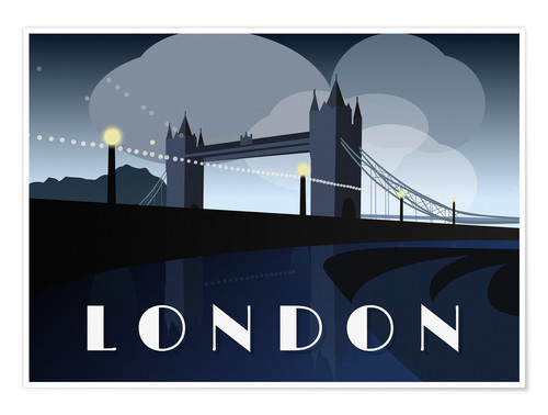 Premium-Poster London Tower Bridge Art Deco Stil