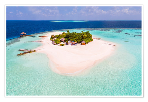 Póster Drone view of paradise island, Maldives