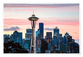 Premium-Poster  Space Needle und Seattle Skyline, USA - Matteo Colombo