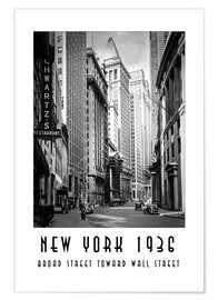 Premium-Poster Historisches New York Broad Street to Wall Street