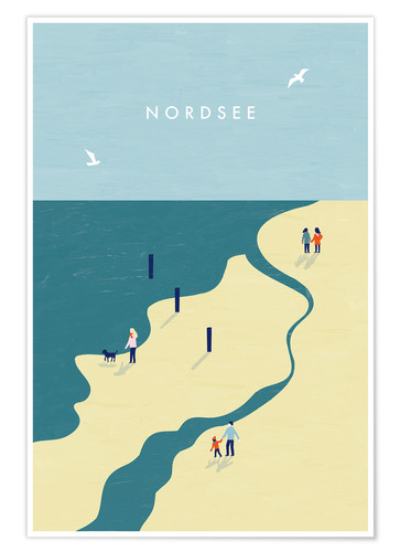 Premium-Poster Nordsee Illustration