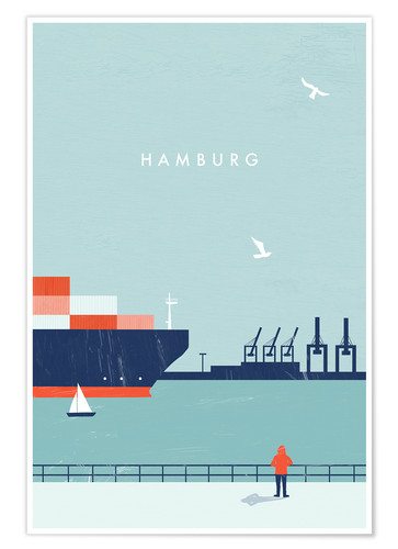 Premium-Poster Hamburg Illustration