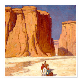 Premium-Poster Indianer reiten durch Canyon de Chelly