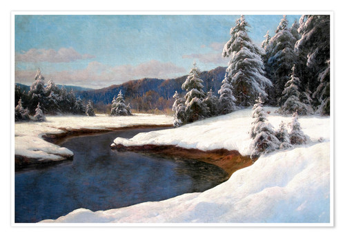 Premium-Poster Winter Landschaft am See
