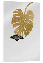 Acrylglasbild  Schmetterling & Monstera - Orara Studio