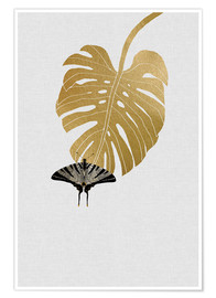 Premium-Poster  Schmetterling & Monstera - Orara Studio