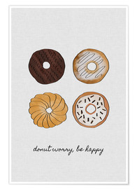 Premium-Poster  Donut worry, be happy - Orara Studio