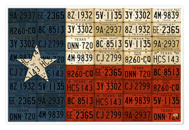 Premium-Poster Flagge von Texas License Plate Art