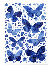Premium-Poster Schmetterlinge China Blau