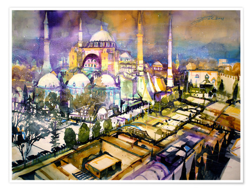 Poster Istanbul, Blick zur Hagia Sophia Moschee