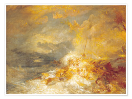 Premium-Poster  Feuer auf See - Joseph Mallord William Turner
