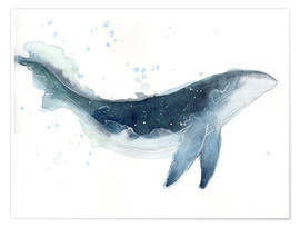 Premium-Poster Watercolor Whale