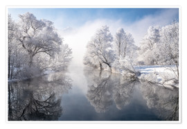 Premium-Poster Winteridylle am Kochelsee in Bayern