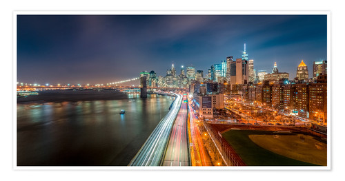 Premium-Poster New York - Manhattan Skyline bei Nacht