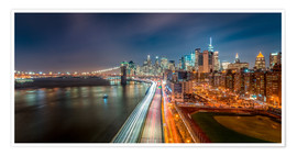 Poster New York - Manhattan Skyline bei Nacht