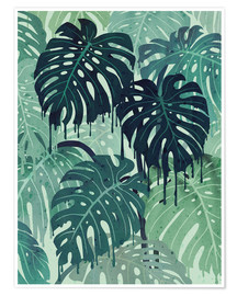 Premium-Poster  Monstera Melt (in Green) - littleclyde