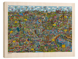 Holzbild  Berlin - Cartoon City