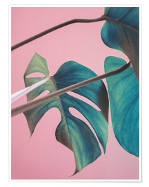 Poster  Sweet pink monstera leaves - Emanuela Carratoni