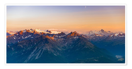Premium-Poster Sunset light over rocky mountain peaks, ridges and valleys, the Alps
